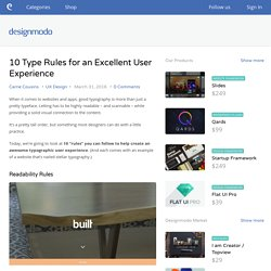 10 Type Rules for an Excellent User Experience