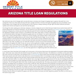 Rules and Regulations for Car Title Loans in Arizona