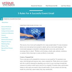 5 Rules for a Succesful Event Email