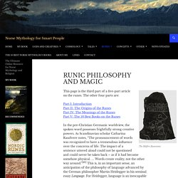 Runic Philosophy and Magic