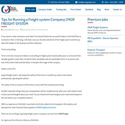 Tips for Running a Freight system Company