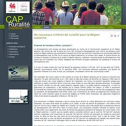 Cap Ruralité : ruralité en Région wallonne - De nouveaux critères de ruralité pour la Région wallonne