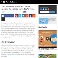 Top Reasons to Go for Online Mobile Recharge in Today's Time