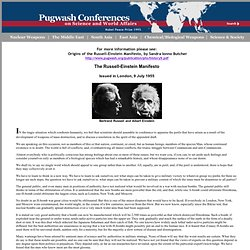 Russell-Einstein Manifesto