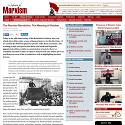 The Russian Revolution: The Meaning of October