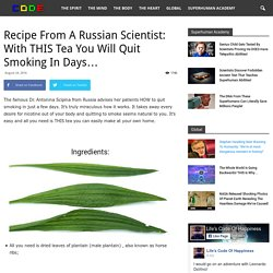 Recipe From A Russian Scientist: With THIS Tea You Will Quit Smoking In Days...