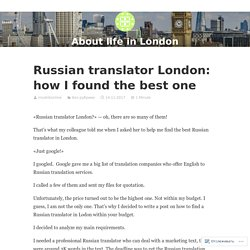Russian translator London: how I found the best one — About life in London