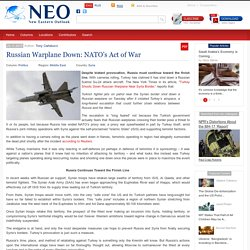 Russian Warplane Down: NATO's Act of War