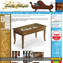 Stylový rustikální prosklený dřevěný konferenční stůl, čtvercový (lze i bílý)