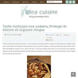 Tarte rustique aux pommes, fromage de chèvre et oignons rouges