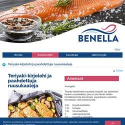 Teriyaki-kirjolohi ja paahdettuja ruusukaaleja - Benella Kala ruokareseptit