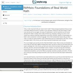 RWM101: Foundations of Real World Math
