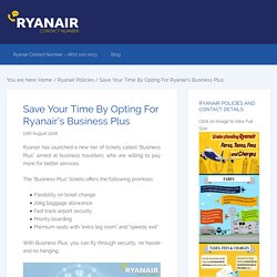 Save Your Time By Opting For Ryanair's Business Plus