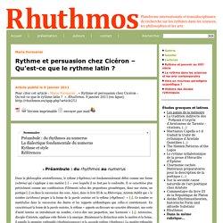 Rythme et persuasion chez Cicéron – Qu'est-ce que le rythme latin?
