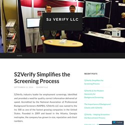 S2Verify Simplifies the Screening Process