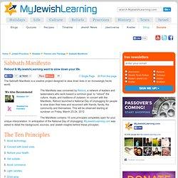 Sabbath Manifesto: My Jewish Learning