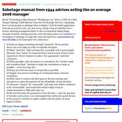 Sabotage manual from 1944 advises acting like an average 2008 manager