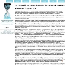 TPP - Sacrificing the Environment for Corporate Interests