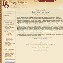 Sadistic Personality Disorder