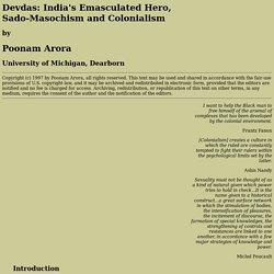 Devdas: Sadomasochism and Colonialism
