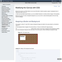 Safari HTML5 Canvas Guide: Modifying the Canvas with CSS