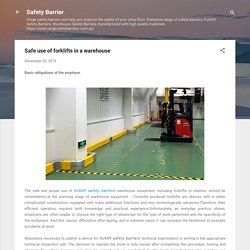 Safe use of forklifts in a warehouse