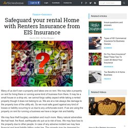 Safeguard your rental Home with Renters Insurance from EIS Insurance