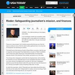 Rieder: Safeguarding journalism's mission, and finances