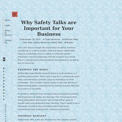 Why Safety Talks are Important for Your Business
