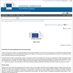 EUROPE 13/06/14 Food Safety: 35 years protecting human and animal health.