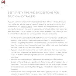 Best safety tips and suggestions for trucks and trailers