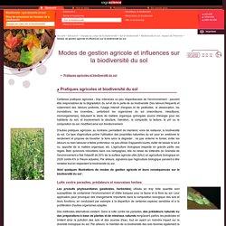 CNRS gestion agricole et biodiversité du sol