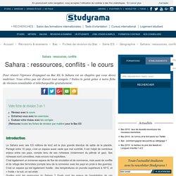 Sahara: ressources, conflits - le cours