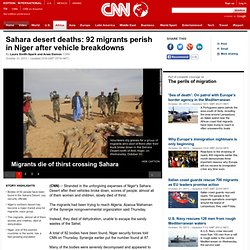 Sahara desert deaths: 92 perish in Niger after vehicle breakdowns
