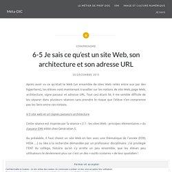 6-5 Je sais ce qu'est un site Web, son architecture et son adresse URL