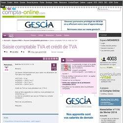 Saisie comptable TVA et crédit de TVA