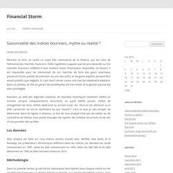 Saisonnalité des indices boursiers, mythe ou réalité ? - Financial Storm