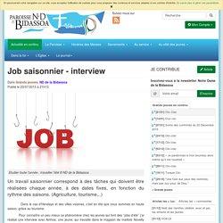 Job saisonnier - interview - Paroisse Notre Dame de la Bidassoa