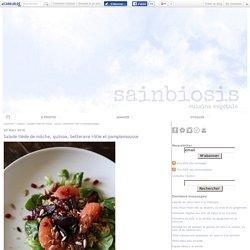 Salade tiède de mâche, quinoa, betterave rôtie et pamplemousse