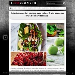 Salade épinard et pomme avec noix et fruits secs, une vraie bombe vitaminée !