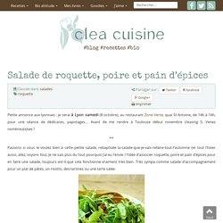 Salade de roquette, poire et pain d'épices