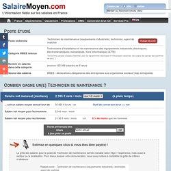 Salaire moyen Technicien de maintenance - 2 341 € net / mois soit 36 015