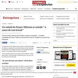 """Un salarié de France Télécom se suicide """"à cause de son travail"""""""