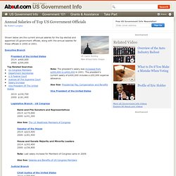 Salaries of Government Officials – Current Annual Salaries of Top US Government Officials