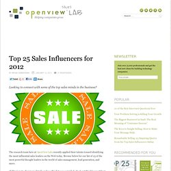 Top 25 Sales Influencers for 2012