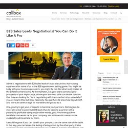 B2B Sales Leads Negotiations? You Can Do It Like A Pro