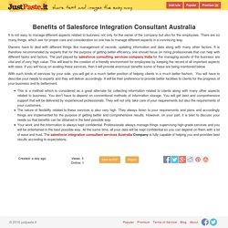 Benefits of Salesforce Integration Consultant Australia - justpaste.it