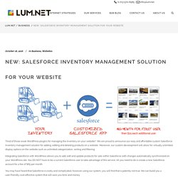 New: Salesforce Inventory Management Solution for Your Website - LUM.NET