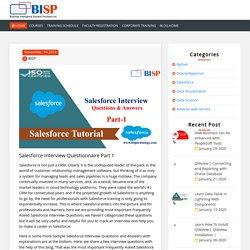 Salesforce Interview Questionnaire Part I