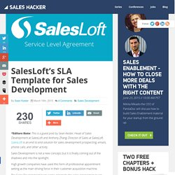 SalesLoft's SLA Template for Sales Development